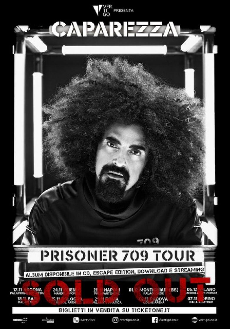 "VERTIGO presenta: CAPAREZZA: la prima data del ""Prisoner 709 Tour"" Quasi tutto SOLD OUT!"