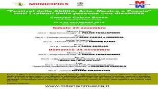 """""""Festival delle Abilità, Arte, Musica e Poesia"""" Tutti i talenti delle persone con disabilità CASCINA CHIESA ROSSA 23 e 24 Novembre 2019"""