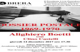 Alighiero Boetti con Clino Castelli  giovedì 14 dicembre 2017 alle ore 17.30 presso il Salone Napoleonico dell'Accademia di Belle Arti di Brera
